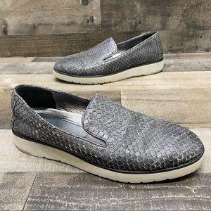 Johnston Murphy Womens Gray Leather Slip on 9.5